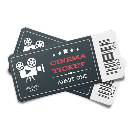 Illustration for Realistic pair of modern black movie tickets isolated on white background. Top view. - Royalty Free Image