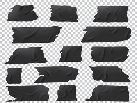 Illustration for Realistic vector set of pieces of black adhesive tape of various lengths and shapes. - Royalty Free Image