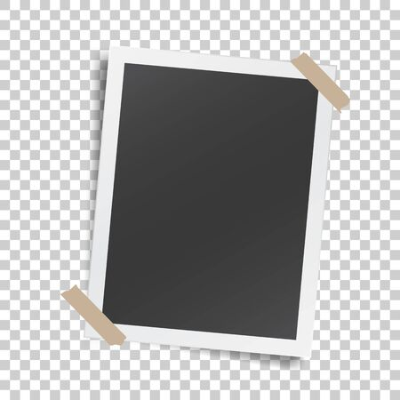 Illustration pour Realistic template with paper photo frame with adhesive tape - image libre de droit
