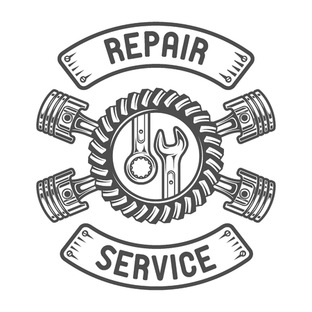 Repair Service Gears wrenches and pistons. Auto emblem.