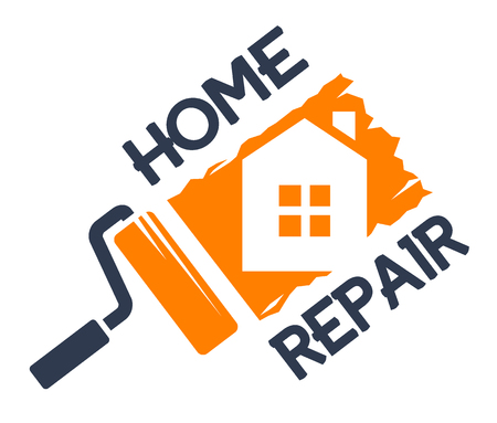 Illustration for The emblem of home repair. Vector illustration. - Royalty Free Image