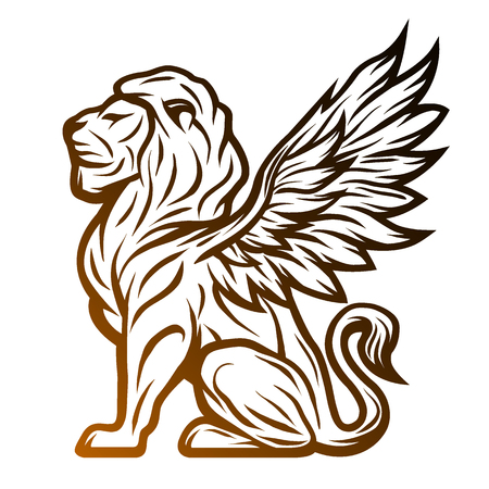 Illustration for Mythological lion statue with wings. On a dark background. - Royalty Free Image