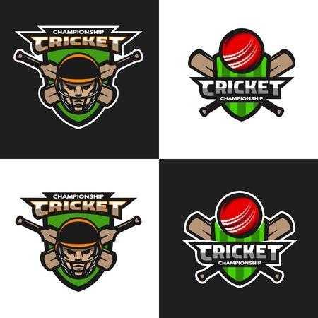 Illustration pour Set of  cricket sports logos, emblem. The dark and light background. Vector illustration. - image libre de droit