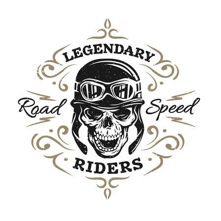 Illustration pour Biker Skull t-shirt prints emblems. Vintage  style. - image libre de droit