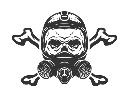 Skull wearing a gas mask and crossbones. Vector illustration.