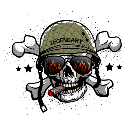Illustration pour Skull with sunglasses and a military helmet. The illustration on the theme of the army. - image libre de droit