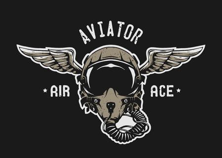 Fighter Pilot Helmet Emblem t shirt design.