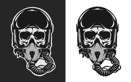 Ilustración de Skull in combat pilot helmet, two versions. - Imagen libre de derechos
