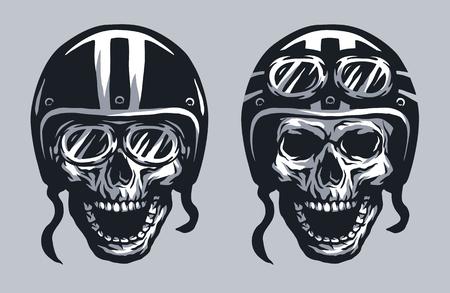 Illustration pour Skull biker in helmet and glasses, two versions. - image libre de droit