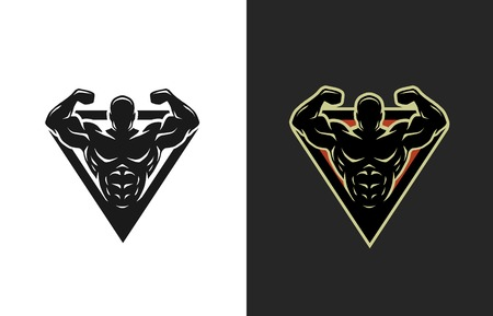 Photo for Bodybuilding logo two options Vector illustration. - Royalty Free Image