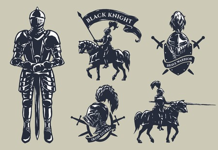 Set of medieval knights mounted knights plate armour emblems.