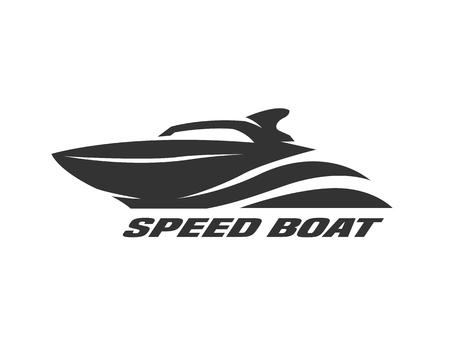 Illustration pour Speed boat, monochrome logo, emblem Vector illustration - image libre de droit