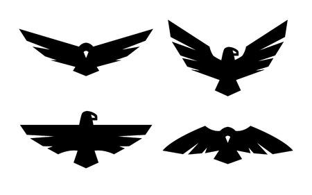 Illustration pour Eagle, a set of monochrome logos. - image libre de droit