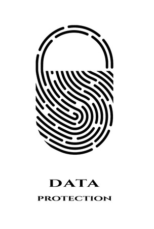 Illustration for Fingerprint padlock logo, sign. - Royalty Free Image