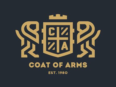 Ilustración de Coat of arms with two lions and a shield on a dark background. - Imagen libre de derechos