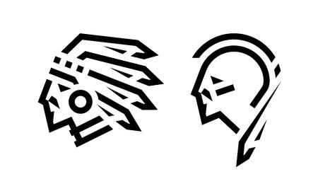 Illustration pour Native American icon, chief and warrior. - image libre de droit