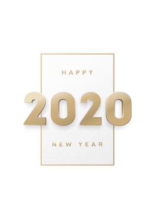 Ilustración de Happy new year, banner with gold 3d numbers 2020. - Imagen libre de derechos