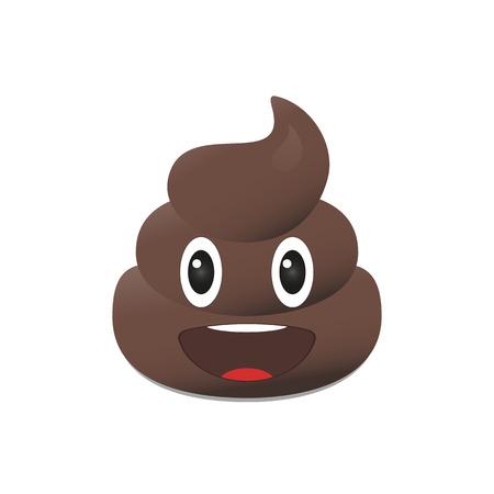 Illustration for Shit emoji. Poo emoticon. Poop emoji face isolated - Royalty Free Image