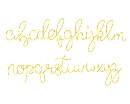 Gold glitter script alphabet  Shiny brush calligraphy