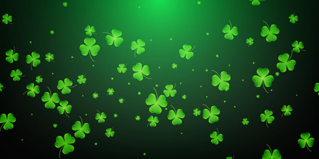 Clover flying leaves background. Saint Patricks Day banner. Three leaf clover leaves.