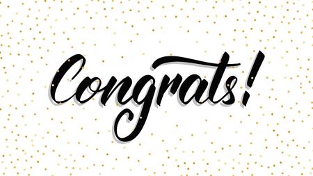 Illustration pour Congrats. Modern hand lettering Congrats with polka dot confetti. Greeting card template. - image libre de droit