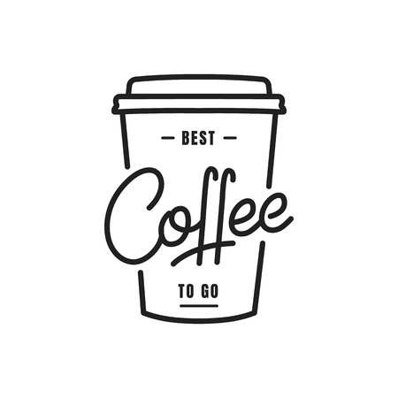 Illustration for Coffee. Coffee to go lettering illustration on a paper cup. Coffee label badge emblem - Royalty Free Image