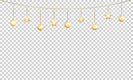Photo pour Gold garland decoration. Shiny golden glowing decoration for Xmas and New Year celebration. - image libre de droit