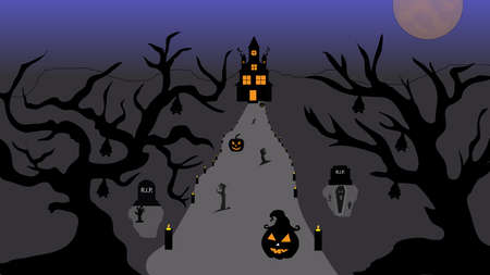 Illustration pour Halloween pumpkins and castle illustration. Halloween night celebration. Style composition Background Halloween. Old haunted house surrounded by silhouettes of trees with the big moon. Vector llustration. - image libre de droit