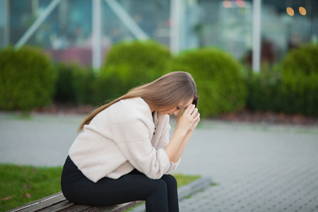 Photo for Woman stress. Portrait of bullied girl feeling lonely and worried - Royalty Free Image