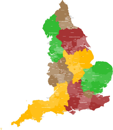A large, detailed and colored map of England with all counties and main cities