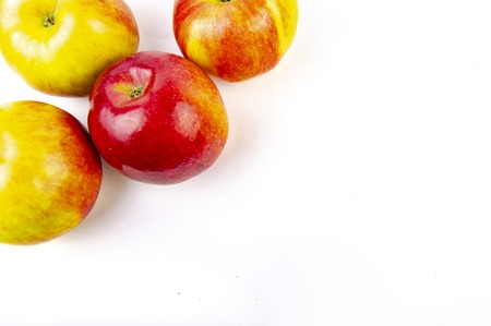 Photo for Red and yellow apples isolated on white background - Royalty Free Image