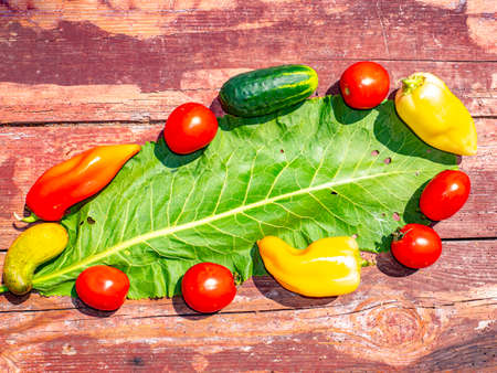 Photo for Vegetables for salad on a wooden background. Cucumbers and tomatoes. Bulgarian pepper. Vegetable salad. Food photo. Template for text. Free space for text. Shop window. Advertising photo. Poster. - Royalty Free Image