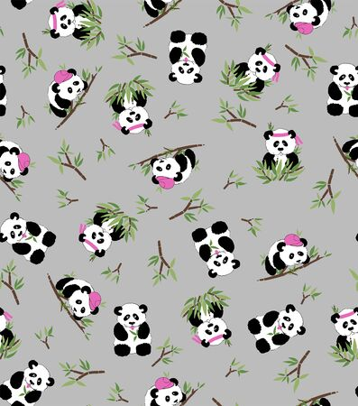 Illustration pour Panda and bamboo, grey background. Seamless pattern - Textil, postcards wallpaper - image libre de droit