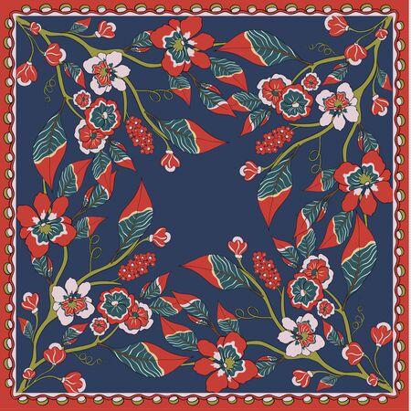 Illustration pour Fantastic flower ornament. Beautiful vector pattern.Design can be used for Card, bandana print, kerchief design, napkin. - image libre de droit