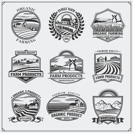 Vector illustration of retro landscapes. Farm fresh food labels, badges, emblems and design elements. Organic, ecology and bio natural design. Set of vintage premium quality labels.のイラスト素材