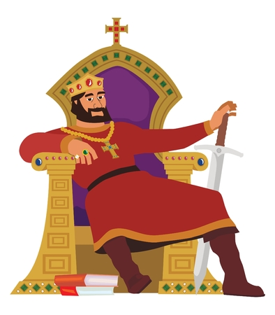 A happy king, resting in his throne. This image is also available with background in my portfolio.  No transparency and gradients used in the vector file.