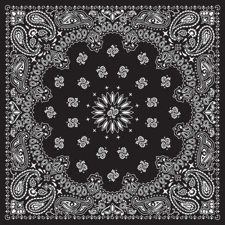 Black bandana with white ornaments   No transparency and gradients used in the vector file