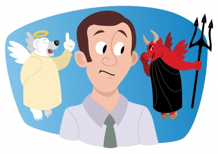 Illustration pour A young investor/stock broker, receiving a bullish advice from a bull, looking much like a devil. A bear-angel is trying to warn him and protect him, but would he listen? No transparency used in the vector file. - image libre de droit