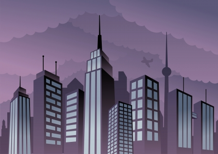 Cartoon city. Basic (linear) gradients used. No transparency.