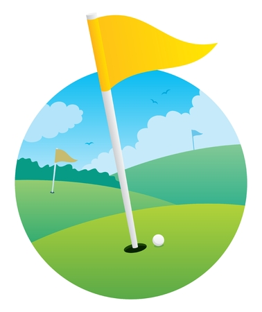 Illustration of a golf course, focusing on a flag. No transparency used.