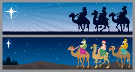 Two Christmas banners with the three wise m�µn and the Star of Bethlehem.  No transparency used. Basic (linear) gradient used for the sky.