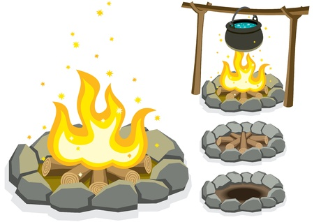 Cartoon illustration of 4 campfires