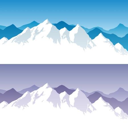 Illustration pour Background with snowy mountain range in 2 color versions - image libre de droit