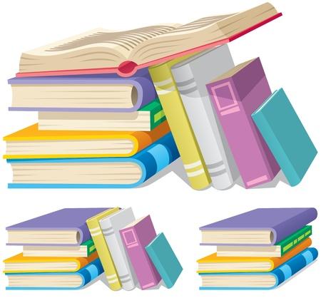 Ilustración de Illustration of a cartoon book pile in 3 different versions.   - Imagen libre de derechos