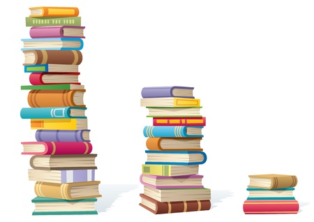 3 stack of books, different by height.