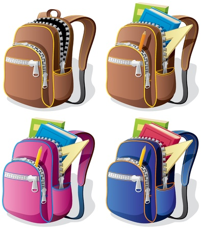 Illustration pour A school backpack in 4 different versions. No transparency used. Basic (linear) gradients.  - image libre de droit