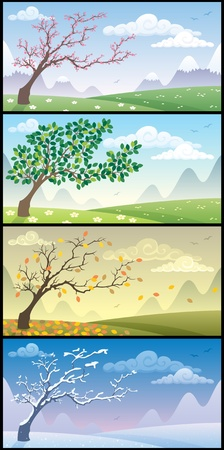 Illustration pour Cartoon landscape during the four seasons. No transparency used. Basic (linear) gradients.    - image libre de droit