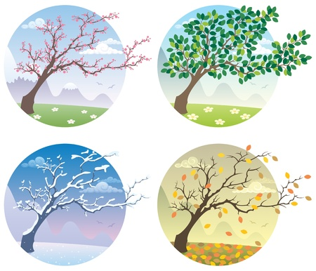 Illustration pour Cartoon illustration of a tree during the four seasons. No transparency used. Basic (linear) gradients.    - image libre de droit
