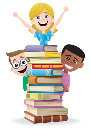 Books and Kids.  No transparency used. Basic (linear) gradients used.