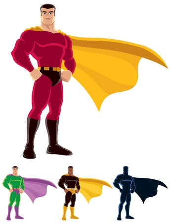 Illustration pour Superhero over white background. Below are 3 additional versions. One of them is a silhouette.  No transparency and gradients used.  - image libre de droit